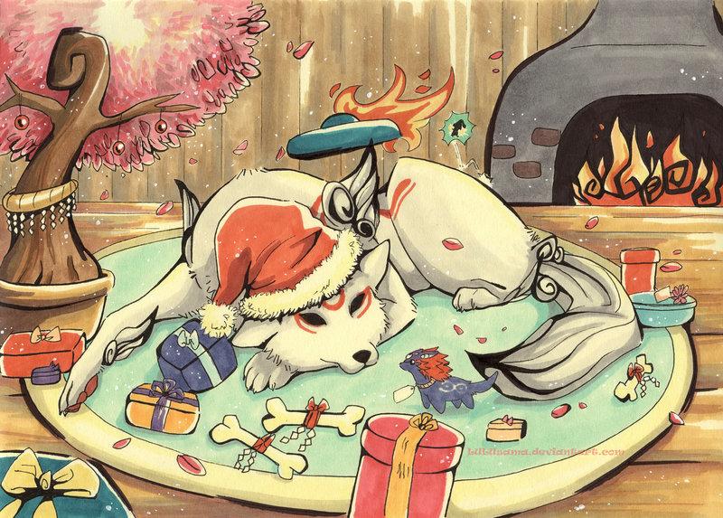 christmas_okami_by_lulusama-d4jruh4